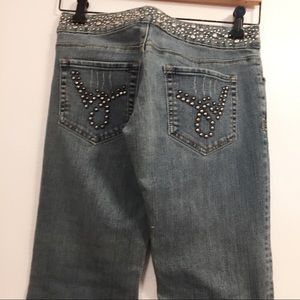 Bebe Vintage Studded Blue Jeans